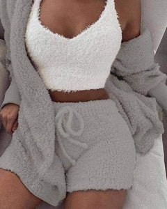 Fluffy hooded open front teddy coat & short sets - New Trend Clothing