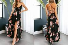 Load image into Gallery viewer, Lily Rose Floral Print Summer Split Backless Beach Maxi Dress - New Trend Clothing