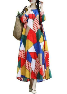 Ethnic Loose Plus Size Vintage Colorful  Long Sleeve Maxi Dress - New Trend Clothing