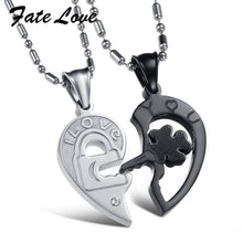 Load image into Gallery viewer, Fate Love Silver Black Split Joint Heart Pendant Couple Necklaces - New Trend Clothing