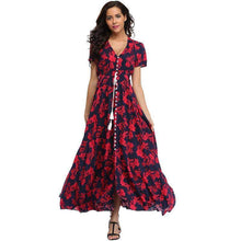 Load image into Gallery viewer, Flower Print Casual Summer Split Maxi Dress - New Trend Clothing