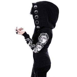 Gothic Long Black Lunar Hoodie - New Trend Clothing