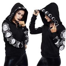 Load image into Gallery viewer, Gothic Long Black Lunar Hoodie - New Trend Clothing