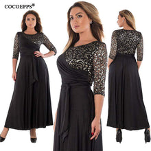 Load image into Gallery viewer, Summer Plus Size Lace Patchwork Maxi Dress - New Trend Clothing