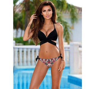 Kylie Sporlike Push Up Cross Stripe Swimwear - New Trend Clothing
