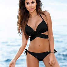 Load image into Gallery viewer, Kylie Sporlike Push Up Cross Stripe Swimwear - New Trend Clothing