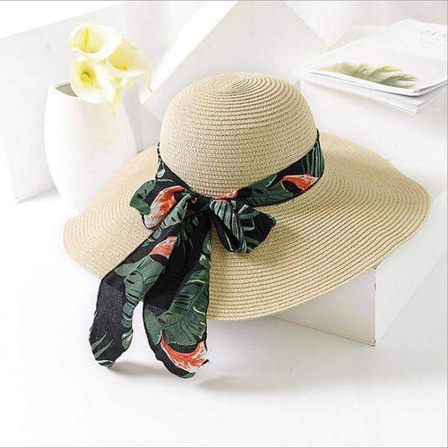 Bow Ribbon Floppy Straw Summer Hat - New Trend Clothing