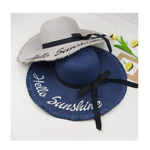 Hello Sunshine Sequin Letter Wide Brim Beach Hat - New Trend Clothing