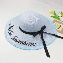 Load image into Gallery viewer, Hello Sunshine Sequin Letter Wide Brim Beach Hat - New Trend Clothing
