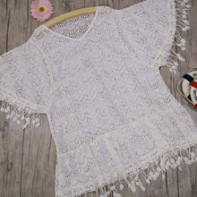 Load image into Gallery viewer, Zoey White Crochet Tassel Beach Cover Up - New Trend Clothing