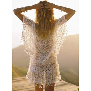 Zoey White Crochet Tassel Beach Cover Up - New Trend Clothing