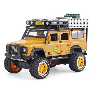 Yellow Version | Land Rover Defender 110 Camel Trophy | 1:28 Scale Diecast Model Car