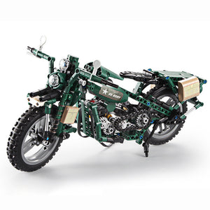 Two-wheeled motorcycle building block car