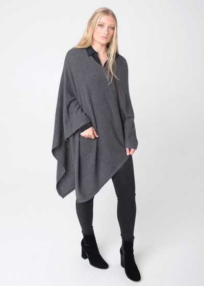 Three Ways Poncho with Leather Detail