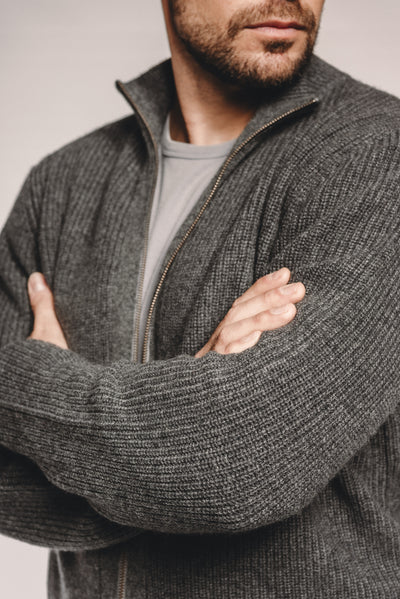 Ribbed Cashmere Bomber