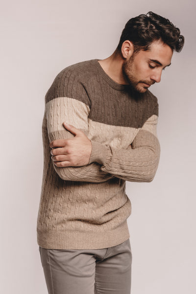 Panelled Cable Sweater