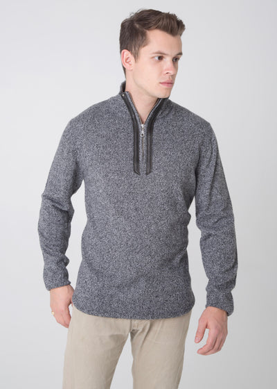 Half-Zip Sweater with Leather