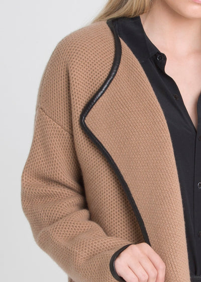 Leather Piped Open Honeycomb Coat