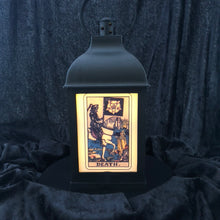 "Load image into Gallery viewer, 10"" Tarot Card Gothic Lantern - LED candle included"