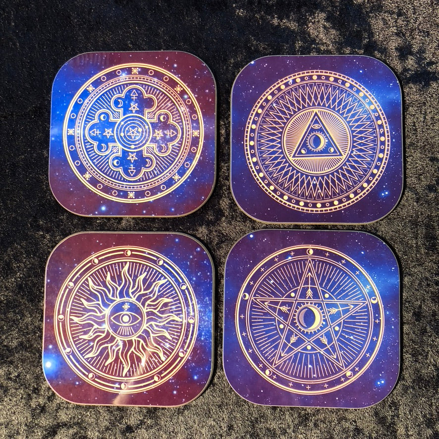 Sacred Geometry Coasters - set of 4