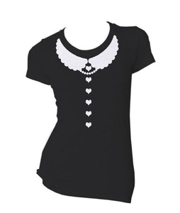 Kawaii Heart Design with Scallop Peter Pan Collar T-Shirt - Pillbox Designs