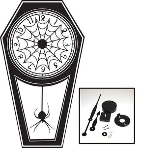 Large Burtonesque Coffin Clock w. Spider Web Detail Vinyl Wall Art & Clock Kit
