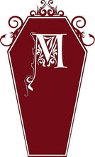 Load image into Gallery viewer, Customizable Gothic Monogram Coffin vinyl Decal - Pillbox Designs
