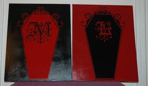 Customizable Gothic Monogram Coffin vinyl Decal - Pillbox Designs