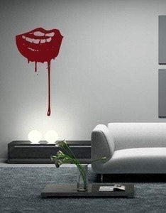 Bloody Mouth Vampire Vinyl Wall Art Decal - Pillbox Designs