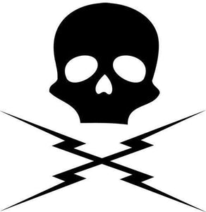 2' X 2' Death Proof Skull and Bolts Vinyl Decal Car / Wall - Pillbox Designs