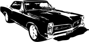 Old School Pontiac GTO Muscle Car Vinyl Wall Graphic-CHOOSE Any Color