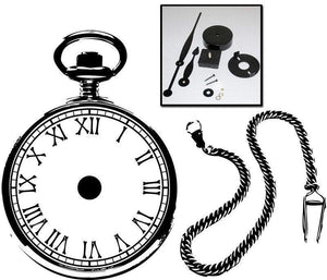 Large Steampunk Pocket Watch Vinyl Wall Art & Clock Kit - Pillbox Designs