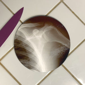 "X-Ray Shoulder and Ribs 8"" Glass Cutting Board - Pillbox Designs"