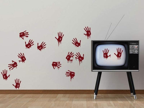 Bloody Hand Prints Creepy Vinyl Wall Decal Pack - Pillbox Designs