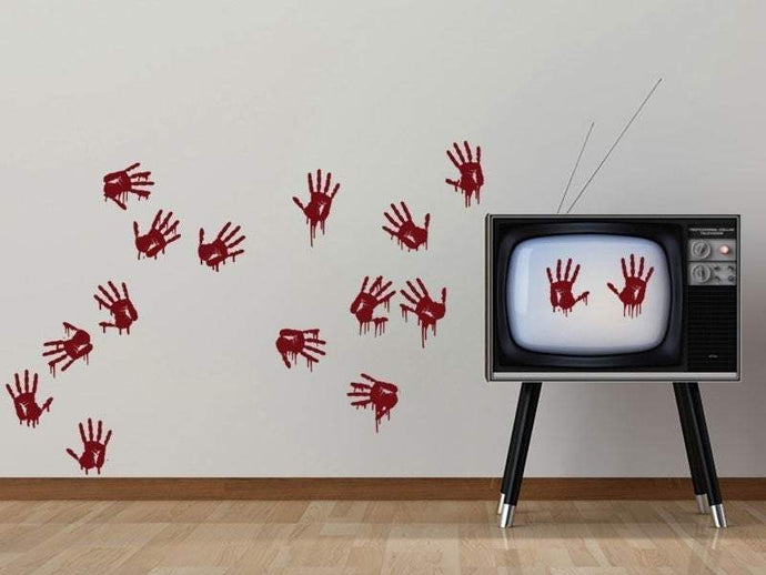 Bloody Hand Prints Creepy Vinyl Wall Art Pack