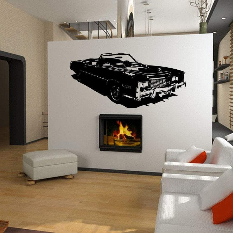 Old School Cadillac El Dorado 1976 Vinyl Wall Art Graphic-CHOOSE ANY COLOR