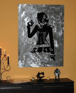 Neko Steampunk GasMask Girl in Corset Vinyl Wall - Pillbox Designs