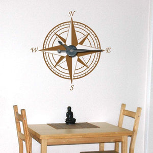 Large Compass Clock Vinyl Wall Art & Clock Kit - Pillbox Designs