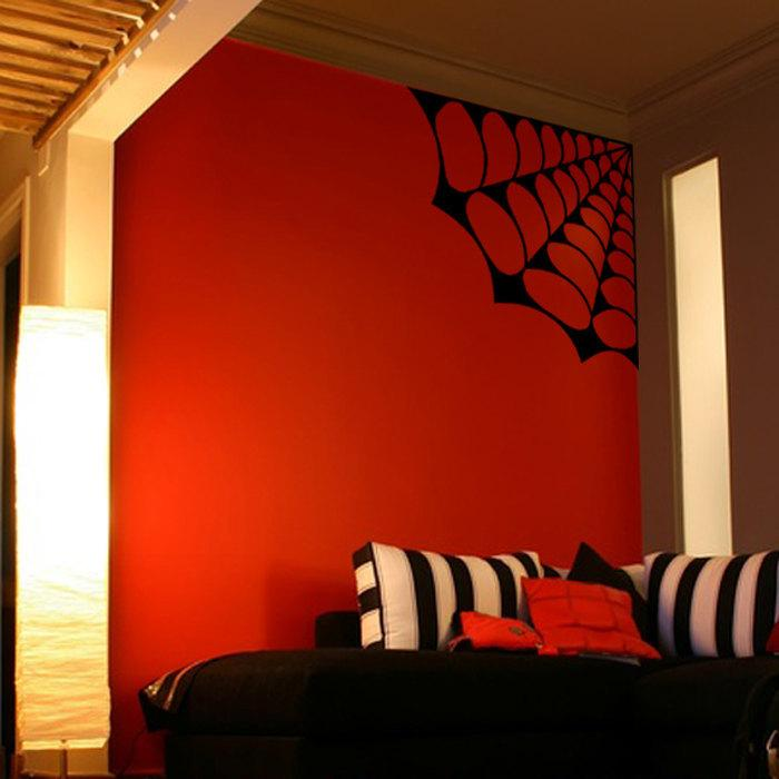 Large Spider Web Vinyl Wall Decal - Pillbox Designs