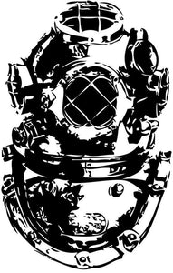 Vintage Diving Helmet Vinyl Wall Decal - Pillbox Designs