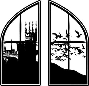 Large Castle Window Fantasy Vinyl Wall Decal - Pillbox Designs