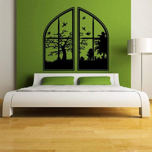 Window with Swallows and Trees Whimsical Vinyl Decal - Pillbox Designs