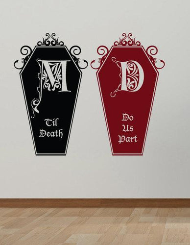 Til Death Do Us Part Coffin Decal Set-Custom Monogram - Pillbox Designs