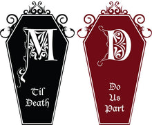 Load image into Gallery viewer, Til Death Do Us Part Coffin Decal Set-Custom Monogram - Pillbox Designs