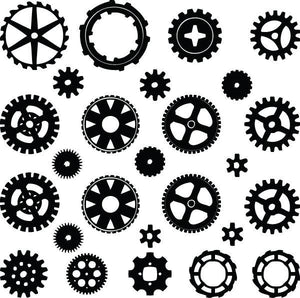 SteamPunk Gears & Cogs Vinyl Wall Decal Pack - Pillbox Designs