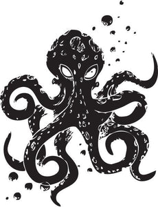 Angry Octopus Vinyl Wall Decal - Pillbox Designs