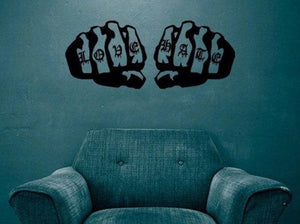 Love/Hate Fists Vinyl Wall Decal - Pillbox Designs