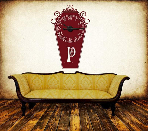 Custom Monogramed Coffin Vinyl Wall Art & Clock Kit - Pillbox Designs