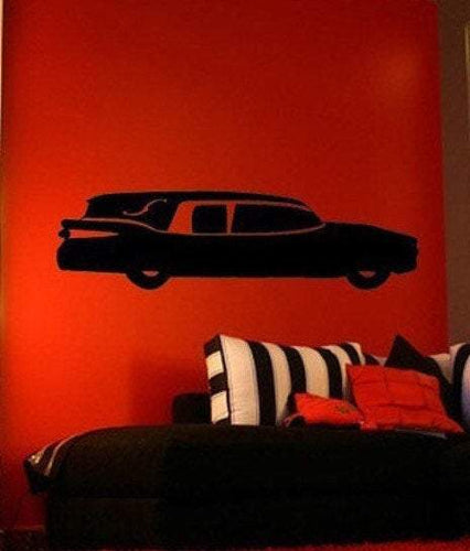 Classic Hearse Gothic Horror Vinyl Wall Decal - Pillbox Designs