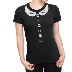 Death Proof Skull and Bolts Peter Pan Collar T Shirt - Pillbox Designs